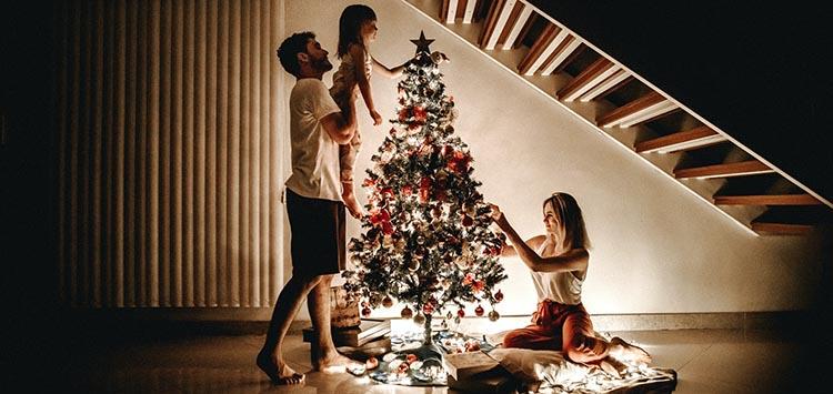 Family at Christmas Tree